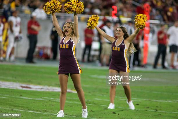 Arizona State Sun Devils cheerleaders preform during a college football game between the Arizona State Sun Devils and the Stanford Cardinal on...