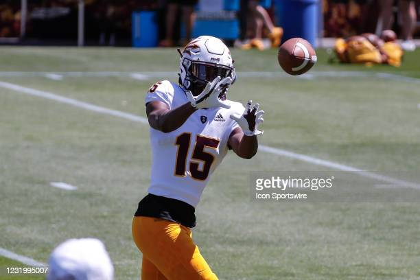 Arizona State Sun Devils defensive back Cam Phillips catches a pass during the college football spring scrimmage of the Arizona State Sun Devils on...