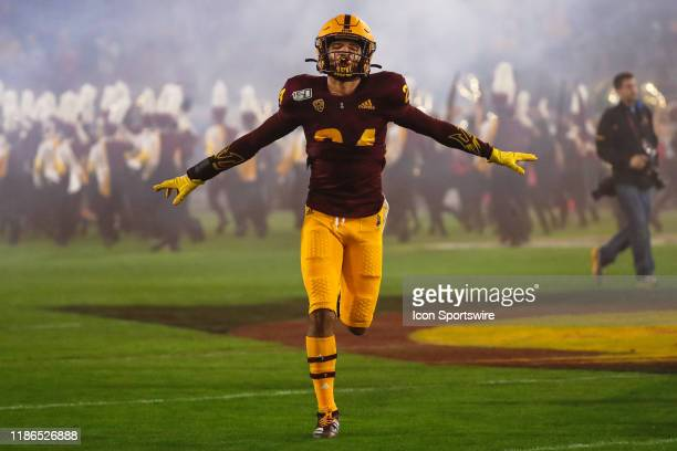 Arizona State Sun Devils defensive back Chase Lucas jogs onto the field before the college football game between the Arizona Wildcats and the Arizona...