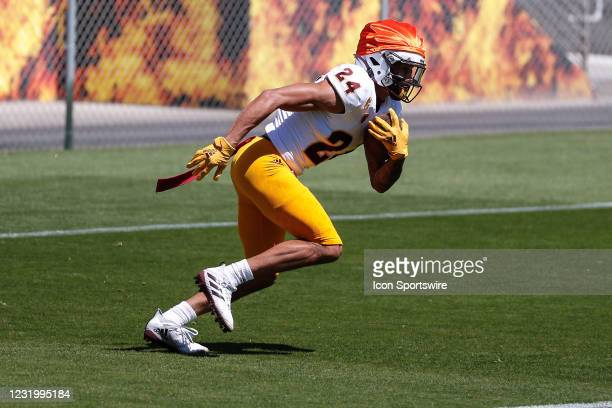 Arizona State Sun Devils defensive back Chase Lucas runs the ball during the college football spring scrimmage of the Arizona State Sun Devils on...