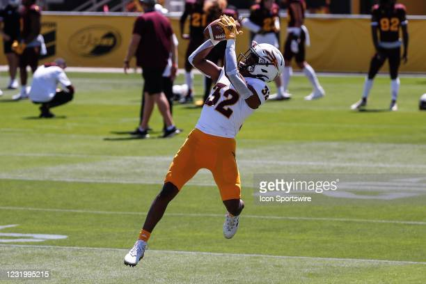 Arizona State Sun Devils defensive back Edward Woods catches a pass during the college football spring scrimmage of the Arizona State Sun Devils on...