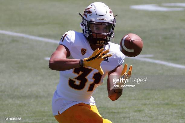 Arizona State Sun Devils defensive back Jean Boyd III catches a pass during the college football spring scrimmage of the Arizona State Sun Devils on...