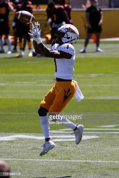 Arizona State Sun Devils defensive back Jordan Clark catches a pass during the college football spring scrimmage of the Arizona State Sun Devils on...