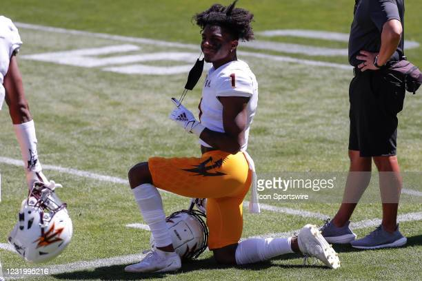 Arizona State Sun Devils defensive back Jordan Clark kneels on the sideline during the college football spring scrimmage of the Arizona State Sun...