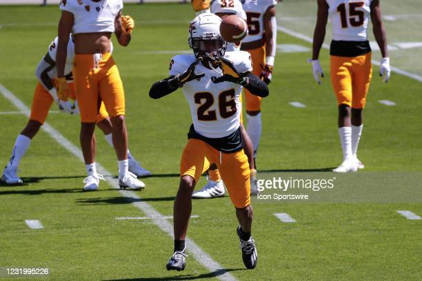 Arizona State Sun Devils defensive back T Lee catches a pass during the college football spring scrimmage of the Arizona State Sun Devils on March...