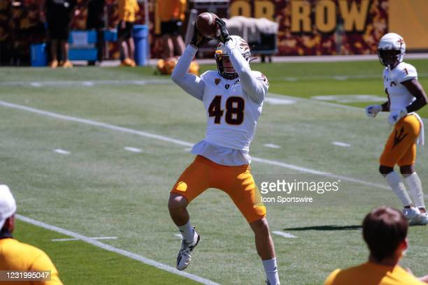 Arizona State Sun Devils defensive back Vincenzo Granatelli catches a pass during the college football spring scrimmage of the Arizona State Sun...