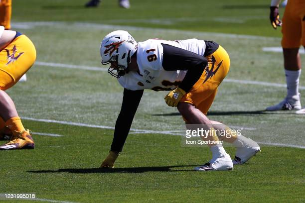 Arizona State Sun Devils defensive end Michael Matus lines up during the college football spring scrimmage of the Arizona State Sun Devils on March...