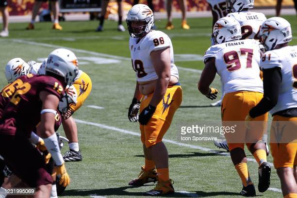 Arizona State Sun Devils defensive lineman D.J. Davidson looks on during the college football spring scrimmage of the Arizona State Sun Devils on...