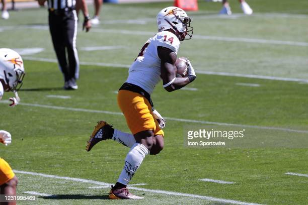 Arizona State Sun Devils defensive lineman Stanley Lambert runs back a fumble during the college football spring scrimmage of the Arizona State Sun...