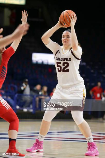 Arizona State Sun Devils forward Jamie Ruden looks for a teammate to pass the ball to during the a college women's basketball game between Arizona...