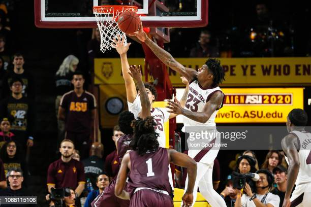 Arizona State Sun Devils forward Romello White blocks a shot during the college basketball game between the Texas Southern Tigers and the Arizona...