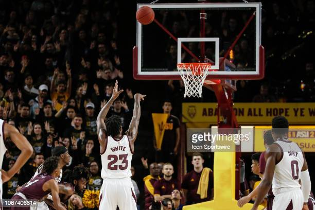Arizona State Sun Devils forward Romello White shoots a free throw during the college basketball game between the Texas Southern Tigers and the...
