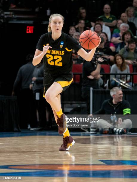 Arizona State Sun Devils guard Courtney Ekmark dribbles the ball down court during the NCAA Division I Women's Championship third round basketball...