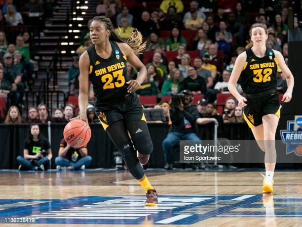 Arizona State Sun Devils guard Iris Mbulito dribbles the ball down court during the NCAA Division I Women's Championship third round basketball game...