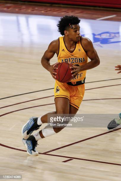 Arizona State Sun Devils guard Josh Christopher drives to the basket during the college basketball game between the UCLA Bruins and the Arizona State...