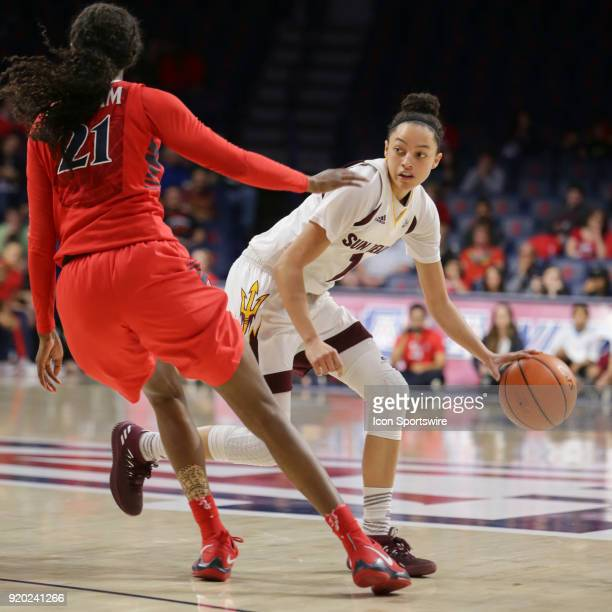 Arizona State Sun Devils guard Reili Richardson dribbles the ball during the a college women's basketball game between Arizona State Sun Devils and...