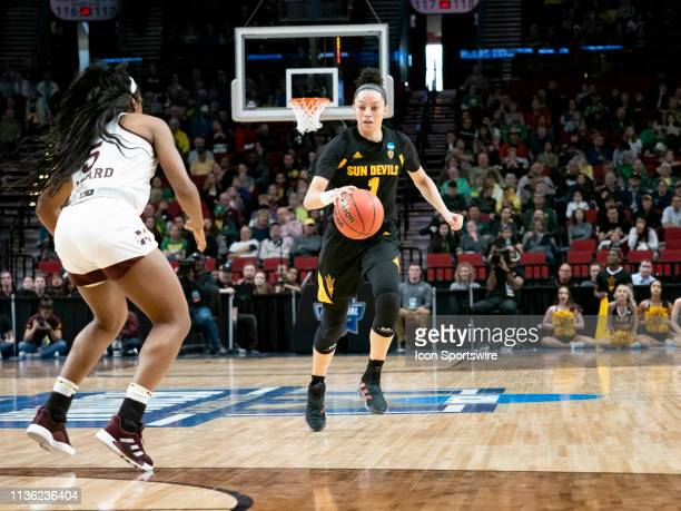 Arizona State Sun Devils guard Reili Richardson dribbles the ball down court against Mississippi State Bulldogs forward Anriel Howard during the NCAA...
