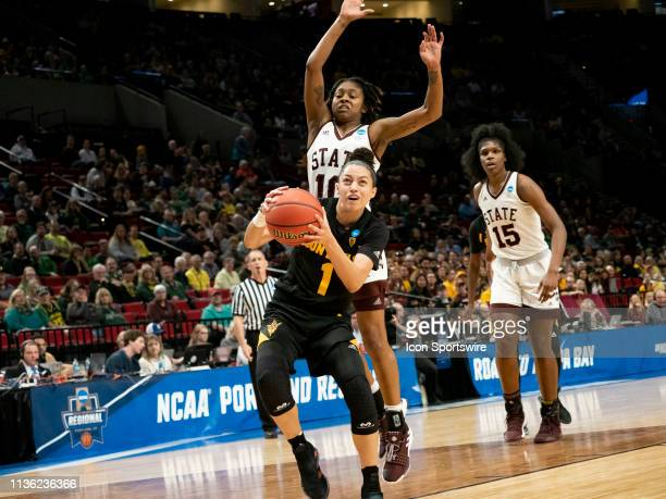 Arizona State Sun Devils guard Reili Richardson goes up for a basket against Mississippi State Bulldogs guard Jazzmun Holmes during the NCAA Division...