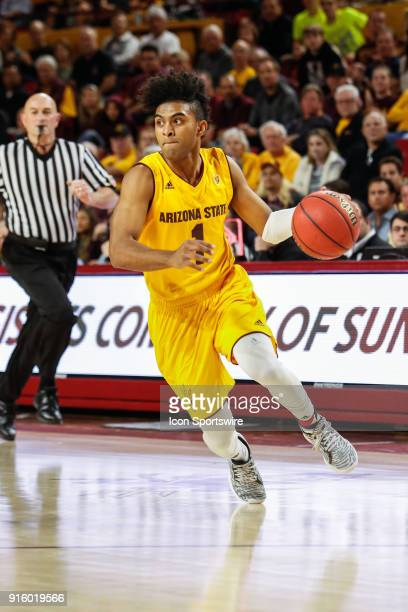 Arizona State Sun Devils guard Remy Martin dribbles the ball during the college basketball game between the USC Trojans and the Arizona State Sun...