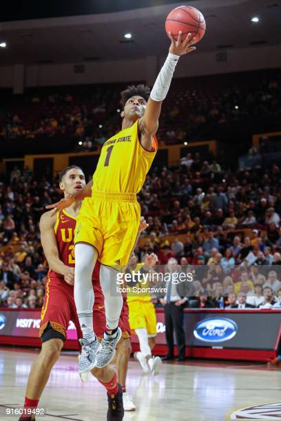 Arizona State Sun Devils guard Remy Martin goes up for a lay up during the college basketball game between the USC Trojans and the Arizona State Sun...