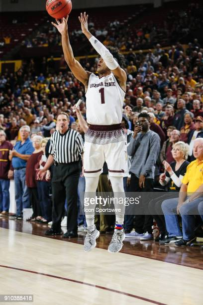 Arizona State Sun Devils guard Remy Martin shoots a three point shot during the college basketball game between the Utah Utes and the Arizona State...