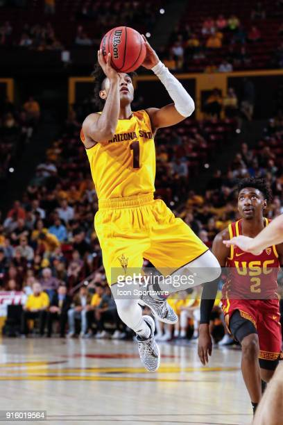 Arizona State Sun Devils guard Remy Martin shoots the ball during the college basketball game between the USC Trojans and the Arizona State Sun...