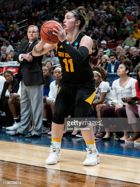 Arizona State Sun Devils guard Robbi Ryan in bounds the ball during the NCAA Division I Women's Championship third round basketball game between...
