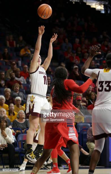 Arizona State Sun Devils guard Robbi Ryan shoots a three point shot during the a college women's basketball game between Arizona State Sun Devils and...