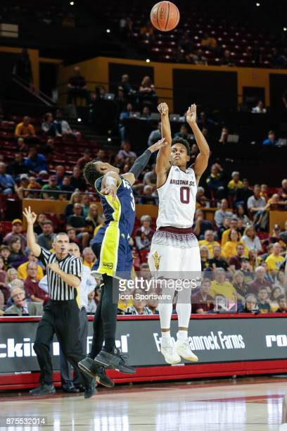 Arizona State Sun Devils guard Tra Holder shoots a three pointer during the college basketball game between the Northern Arizona Lumberjacks and the...