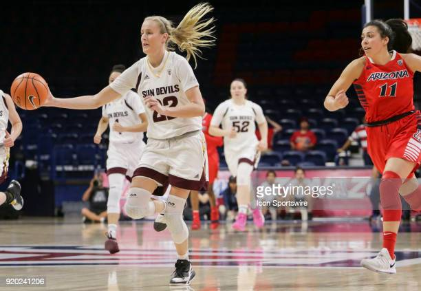 Arizona State Sun Devils guard/forward Courtney Ekmark dribbles the ball down the court during the a college women's basketball game between Arizona...