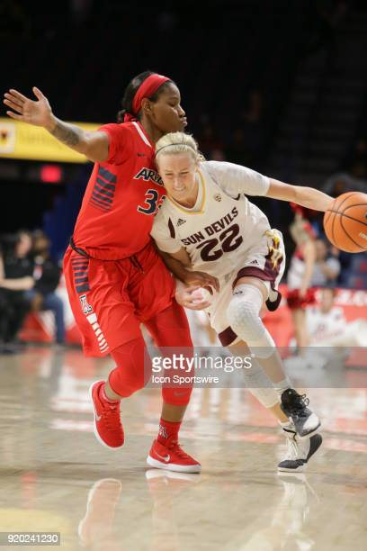 Arizona State Sun Devils guard/forward Courtney Ekmark tries to dribble around Arizona Wildcats guard JaLea Bennett during the a college women's...