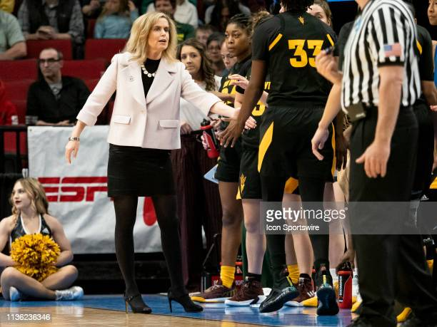 Arizona State Sun Devils head coach Charli Turner Thorne reacts to a call during the NCAA Division I Women's Championship third round basketball game...