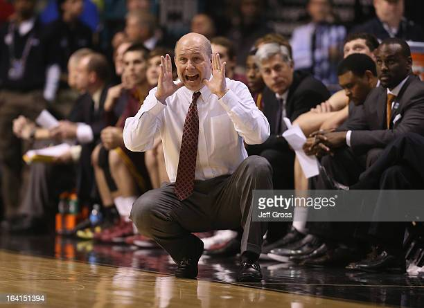 Arizona State Sun Devils head coach Herb Sendek shouts instructions to his team against the UCLA Bruins during the quarterfinals of the Pac 12...