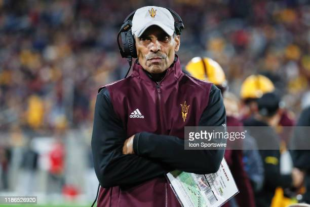 Arizona State Sun Devils head coach Herm Edwards looks on during the college football game between the Arizona Wildcats and the Arizona State Sun...