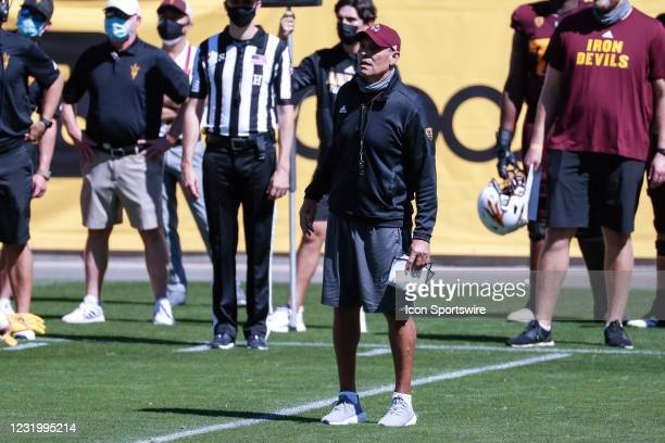 Arizona State Sun Devils head coach Herm Edwards looks on during the college football spring scrimmage of the Arizona State Sun Devils on March 28,...