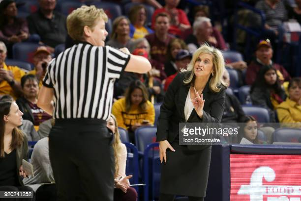 Arizona State Sun Devils head coach Turner Thorne yells at the referee during the a college women's basketball game between Arizona State Sun Devils...
