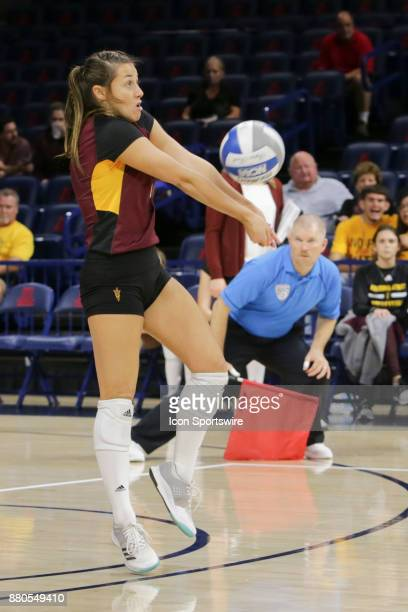 Arizona State Sun Devils libero/defensive specialist Courtney Leffel hits the ball during the a college volleyball game between Arizona State Sun...