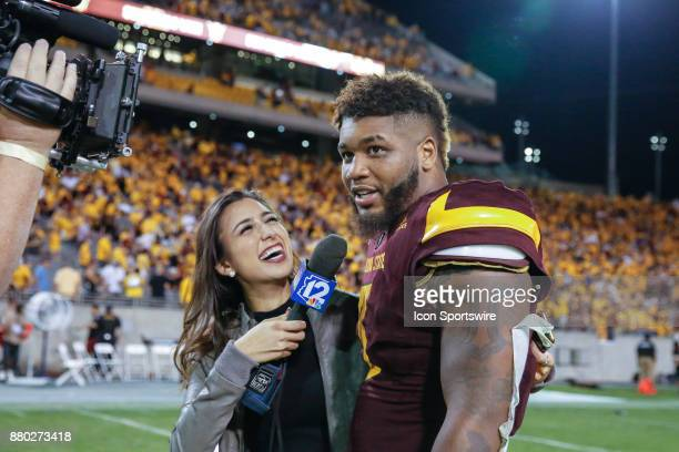 Arizona State Sun Devils linebacker DJ Calhoun is interviewed after the college football game between the Arizona Wildcats and the Arizona State Sun...