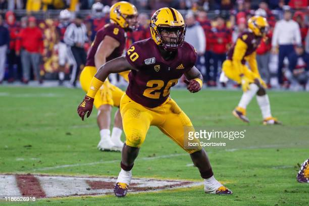 Arizona State Sun Devils linebacker Khaylan KearseThomas watches the ball during the college football game between the Arizona Wildcats and the...