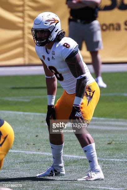 Arizona State Sun Devils linebacker Merlin Robertson looks on during the college football spring scrimmage of the Arizona State Sun Devils on March...
