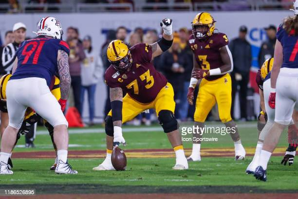 Arizona State Sun Devils offensive lineman Cohl Cabral signals before the play during the college football game between the Arizona Wildcats and the...