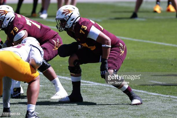 Arizona State Sun Devils offensive lineman Isaia Glass lines up during the college football spring scrimmage of the Arizona State Sun Devils on March...