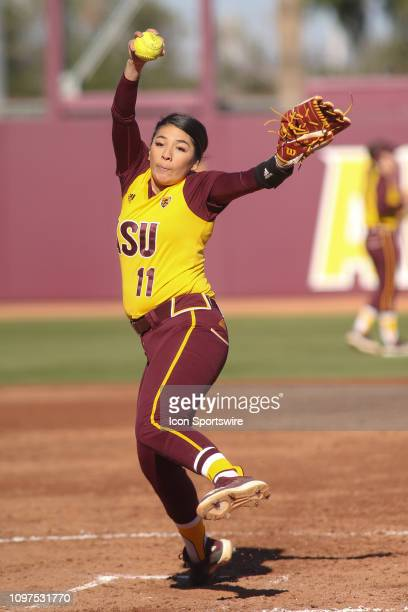 Arizona State Sun Devils pitcher Samantha Mejia pitches during the a college softball game between the CSUN Matadors and the Arizona State Sun Devils...