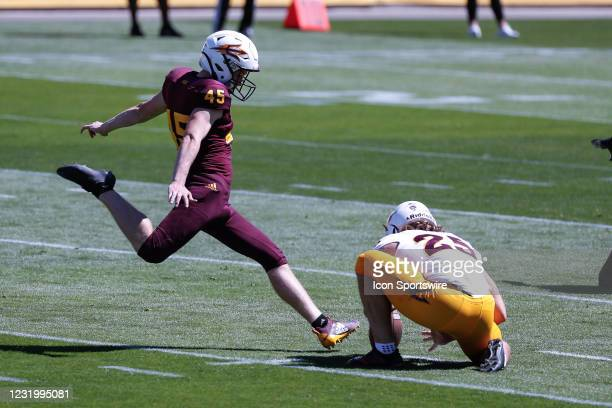 Arizona State Sun Devils place kicker Jace Feely kicks a field goal during the college football spring scrimmage of the Arizona State Sun Devils on...