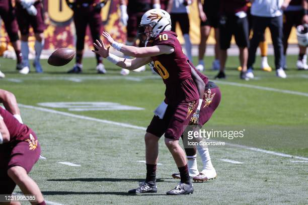 Arizona State Sun Devils quarterback Finn Collins receives the snap during the college football spring scrimmage of the Arizona State Sun Devils on...