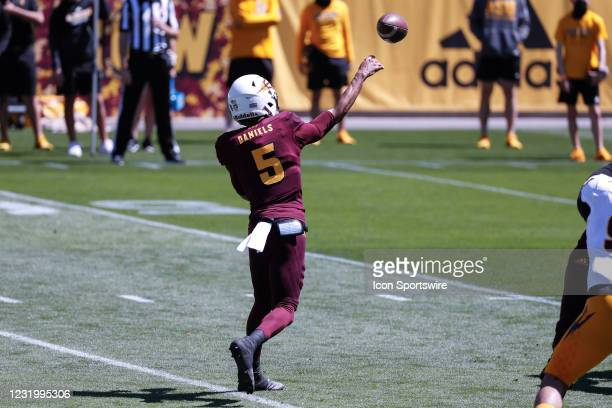 Arizona State Sun Devils quarterback Jayden Daniels throws a pass during the college football spring scrimmage of the Arizona State Sun Devils on...