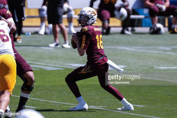 Arizona State Sun Devils quarterback Trenton Bourguet looks downfield during the college football spring scrimmage of the Arizona State Sun Devils on...