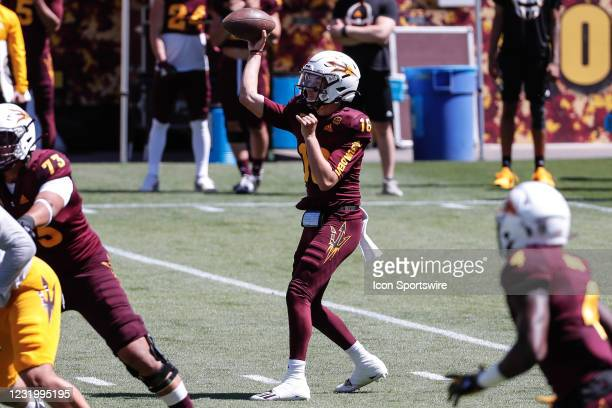 Arizona State Sun Devils quarterback Trenton Bourguet throws a pass during the college football spring scrimmage of the Arizona State Sun Devils on...