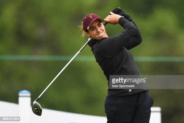 Arizona State Sun Devils' Roberta Liti tees off at the first hole during the NCAA Division 1 Women's golf championship semifinals on May 23 at Rich...
