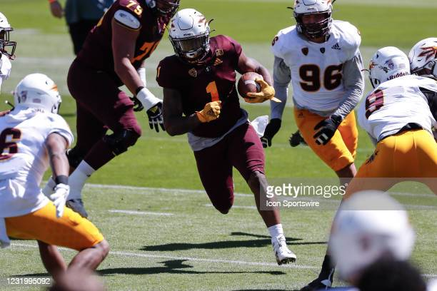Arizona State Sun Devils running back DeaMonte Trayanum runs the ball during the college football spring scrimmage of the Arizona State Sun Devils on...